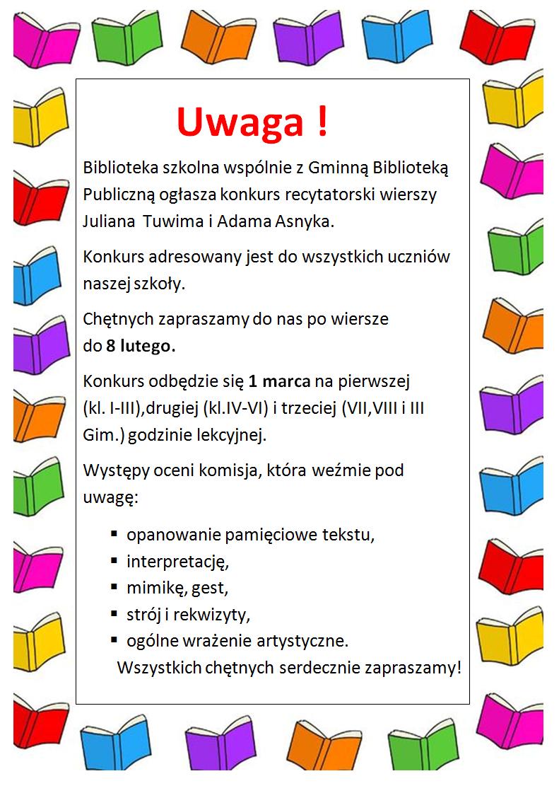 Konkurs Recytatorski Wierszy Juliana Tuwima I Adama Asnyka