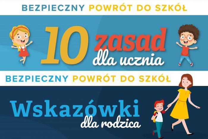 Bezpieczny powrót do szkoły - 10 zasad dla ucznia & wskazówki dla rodzica